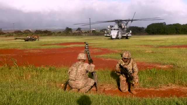 marines with marine heavy helicopter squadron 463 and u.s. army soldiers with 3rd battalion, 7th field artillery regiment conducted an helicopter... - howitzer stock videos & royalty-free footage