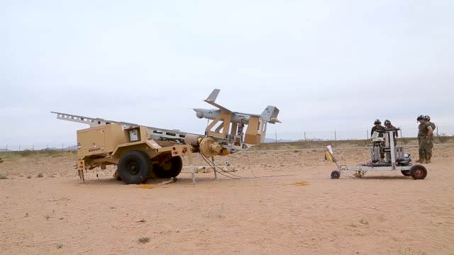 us marines with marine unmanned aerial vehicle squadron 1 marine aircraft group 13 3rd marine aircraft wing launch an rq21a blackjack uav in support... - 無人航空機点の映像素材/bロール
