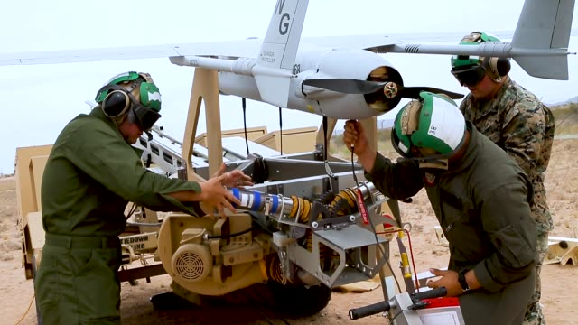 us marines with marine unmanned aerial vehicle squadron 1 marine aircraft group 13 3rd marine aircraft wing launch an rq21a blackjack uav in support... - blackjack stock videos and b-roll footage