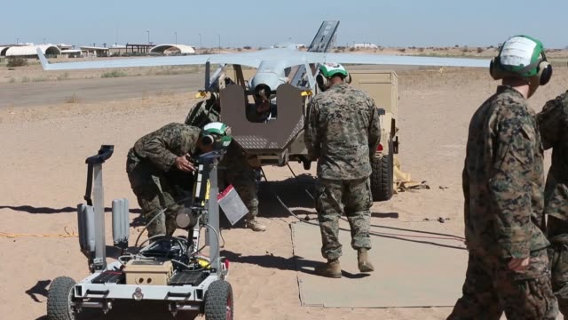 us marines with marine unmanned aerial vehicle squadron 2 launches rq21a blackjack during assault support tactics 3 in support of weapons and tactics... - 無人航空機点の映像素材/bロール
