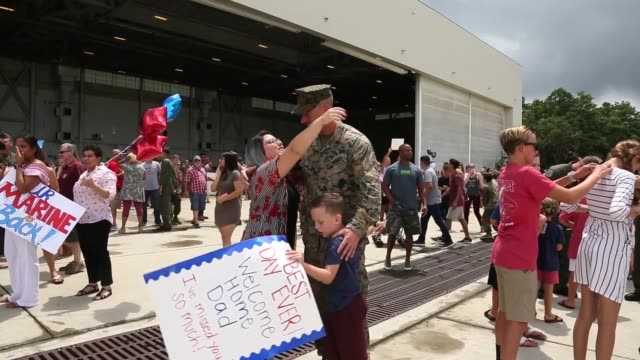 Marines with Medium Tiltrotor Squadron 162 return to Marine Corps Air Station New River North Carolina after a six month deployment on Aug 4 2018