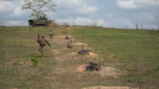 US Marines with the 31st Marine Expeditionary Unit prepare to conduct a combined arms livefire training during exercise Cobra Gold at Ban Chan Khrem...