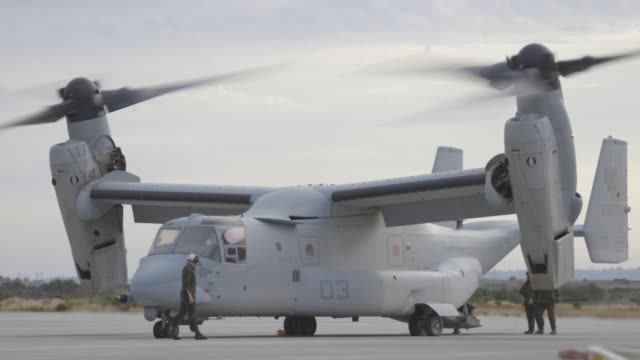 vídeos de stock, filmes e b-roll de marines with vmm-161 perform tactical air to air refueling and tiltrotor gunnery operations in support of exercise summer fury 2019. - invertebrado