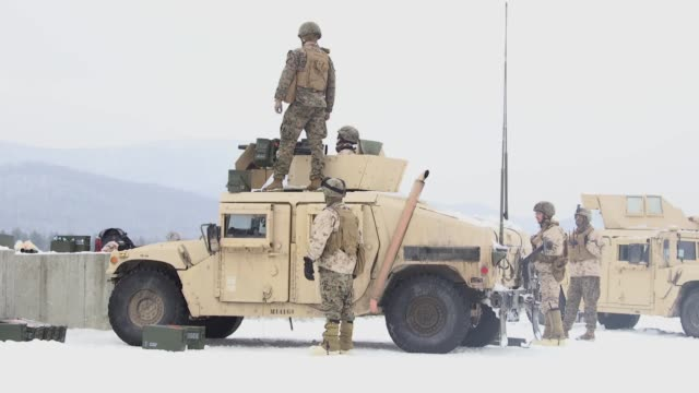 marines with weapons company, 1st battalion, 24th marines, 25th marine regiment, 4th marine division, conduct a live fire exercise with the m240... - armoured vehicle stock videos & royalty-free footage