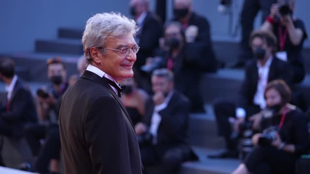 """mario martone and ippolita di majo attend the red carpet of the movie """"qui rido io"""" during the 78th venice international film festival on september... - film festival stock videos & royalty-free footage"""