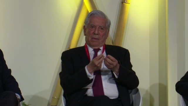 mario vargas llosa attends nobel prize dialogue madrid 2019 - nobel prize in literature stock videos & royalty-free footage