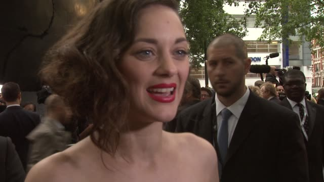 marion cotillard on batman franchise at the dark knight rises european premiere at leicester square on july 18 2012 in london england - franchising stock-videos und b-roll-filmmaterial