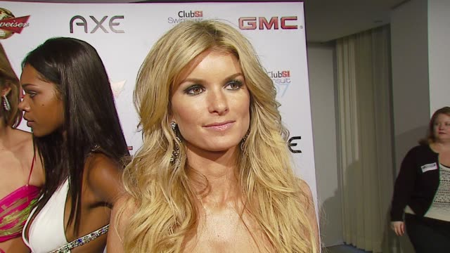 marisa miller on her photo shoot her veteran status as a model and beyonce as the cover model at the sports illustrated swimsuit issue party at the... - sports illustrated swimsuit issue stock videos & royalty-free footage