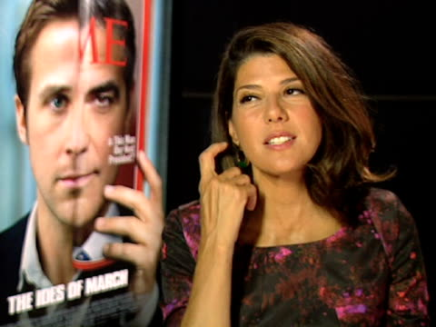 marisa tomei on developing her character at the the ides of march interviews: venice film festival 2011 at venice . - marisa tomei stock videos & royalty-free footage