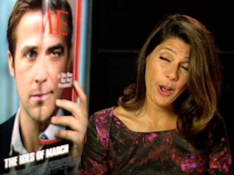 marisa tomei on if audiences will come away questioning politicians and their practises at the the ides of march interviews: venice film festival... - marisa tomei stock videos & royalty-free footage