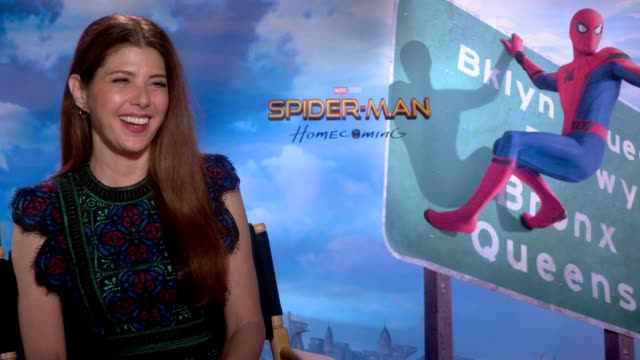 interview marisa tomei on playing aunt may being part of the marvel world on her character her onscreen relationship with robert downey jr at the... - zia video stock e b–roll