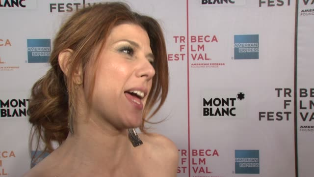 marisa tomei on why she wanted to be a part of this film, what it was like working with the cast and what it means to premiere at the festival at the... - marisa tomei stock videos & royalty-free footage