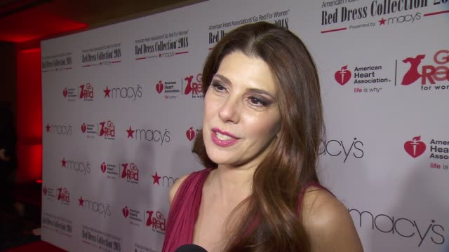interview marisa tomei talks about hosting the american heart association's go red for women red dress collection 2018 presented by macy's at... - marisa tomei stock videos & royalty-free footage