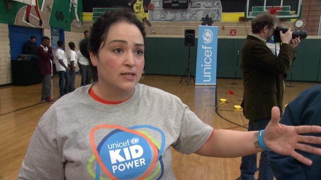 INTERVIEW Marisol DeLacruz gym teacher talks about what the kids are learning by participating in this event at UNICEF Kid Power Kicks off in New...