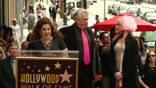 stockvideo's en b-roll-footage met marissa jaret winokur at cyndi lauper and harvey fierstein honored with star on the hollywood walk of fame at hollywood walk of fame on april 11,... - cyndi lauper