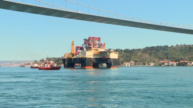 maritime traffic in the bosporus in istanbul, one of the world's critical trade routes, came to a halt on monday to allow the passage of a giant oil... - bosphorus stock videos & royalty-free footage