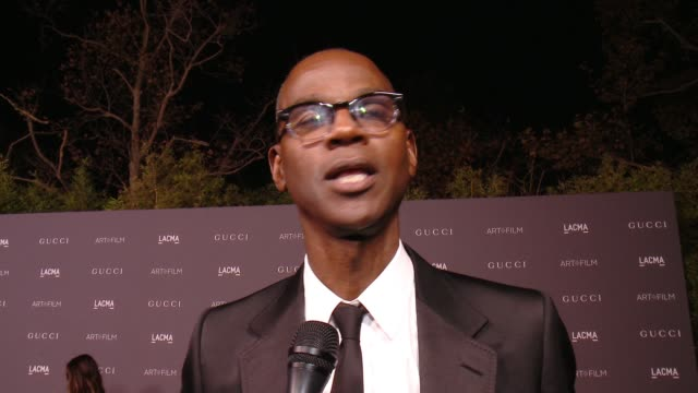 INTERVIEW Mark Bradford on the event at 2017 LACMA Art Film Gala Honoring Mark Bradford and George Lucas Presented by Gucci in Los Angeles CA
