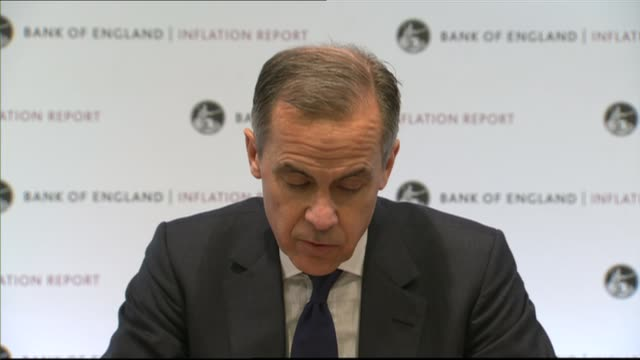 London Bank of England INT Mark Carney and others into room and press conference SOT