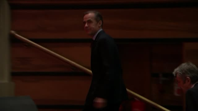 Mark Carney rules out interest rate rise / global economic slowdown ENGLAND East London Queen Mary University EXT Mark Carney out of car and greeted...