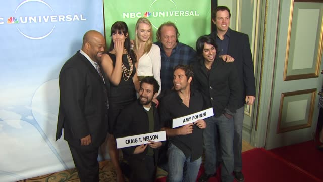 mark christopher lawrence, sarah lancaster, joshua gomez, yvonne strahovski, scott krinsky, zachary levi, vik sahay, adam baldwin at the nbc... - levi's stock videos & royalty-free footage