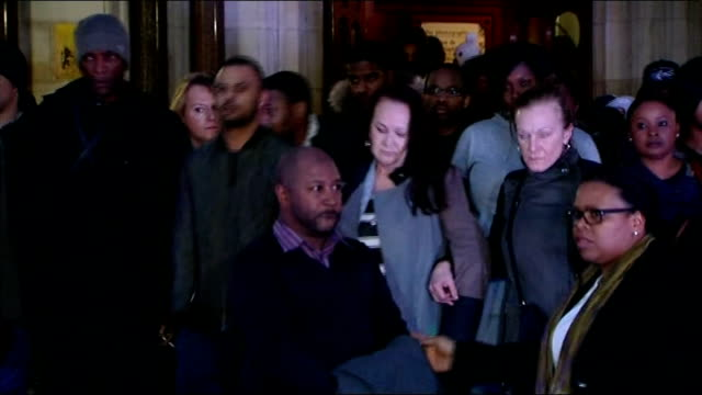 jury deliver lawful killing verdict; england: london: high court: ext / night **beware flash photography** family and friends of mark duggan... - juror law stock videos & royalty-free footage