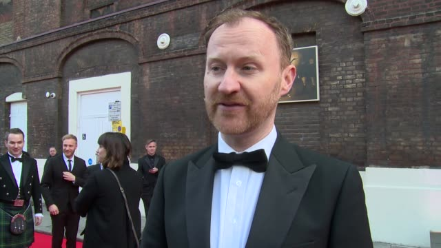 mark gatiss on kevin spacey, dr who and theatre at gala celebration in honour of kevin spacey on 19th april 2015 in london, england. - ドクター フー点の映像素材/bロール