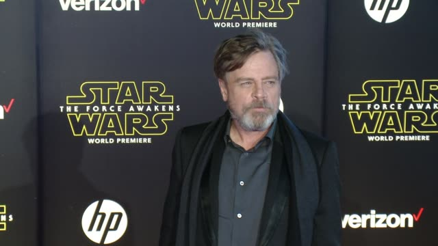 """mark hamill at the """"star wars: the force awakens"""" world premiere at tcl chinese theatre on december 14, 2015 in hollywood, california. - tcl chinese theatre stock videos & royalty-free footage"""