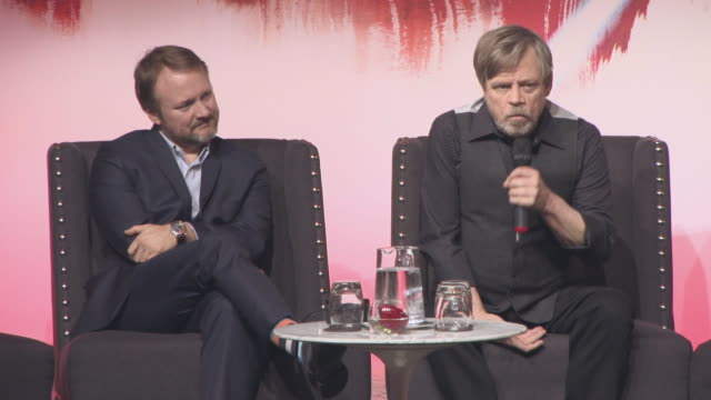 vídeos y material grabado en eventos de stock de interview mark hamill on the cast taking over his role of action and being the hero happy to let the younger cast members do the heavy lifting at... - mark hamill