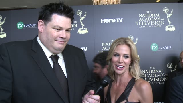 mark labbett and brooke burns on the event, and on her dress at the 2014 daytime emmy awards at the beverly hilton hotel on june 22, 2014 in beverly... - brooke burns stock videos & royalty-free footage