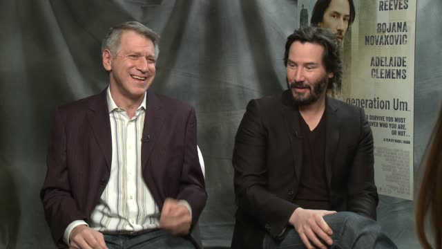 mark mann & keanu reeves on the title of the film at 'generation um' los angeles press junket interview - mark mann & keanu reeves on the title at... - keanu reeves stock videos & royalty-free footage
