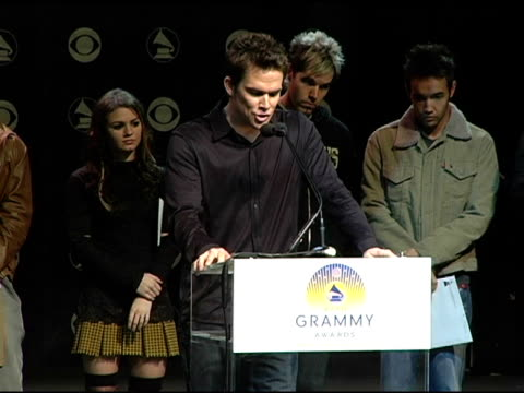 mark mcgrath announces the grammy award nominees in the catagory album of the year at the 2004 grammy awards nominations at the henry fonda music box... - ノミネート点の映像素材/bロール