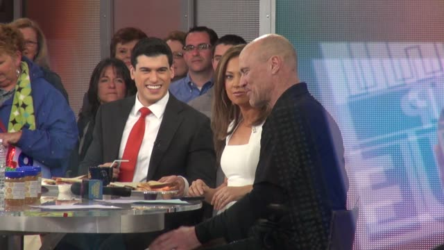 mark messier being interviewed by gio benitez & ginger zee on the set of the good morning america live show in celebrity sightings in new york, - ginger zee stock videos & royalty-free footage