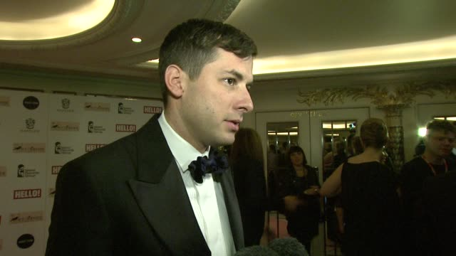 mark ronson on his role at the event, remembering amy's memory, his favorite amy track, his current work at amy winehouse foundation ball arrivals at... - dorchester hotel stock videos & royalty-free footage