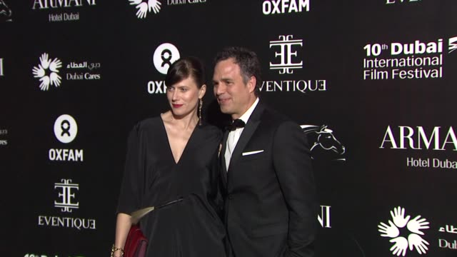 mark ruffalo and sunrise coigney at the oxfam charity gala at madinat jumeirah on in dubai united arab emirates - mark ruffalo stock videos and b-roll footage