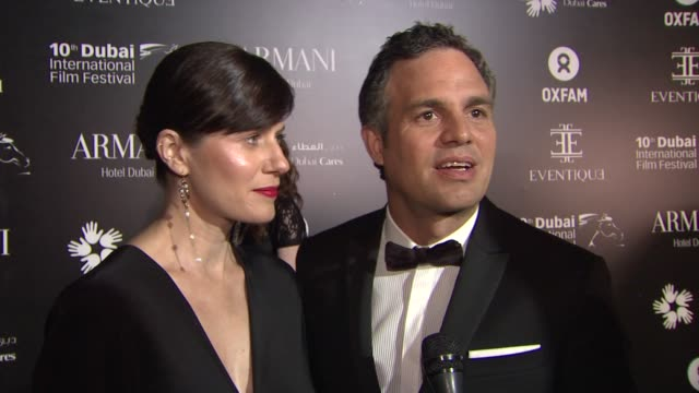 interview mark ruffalo and sunrise coigney on being at the oxfam charity gala visiting dubai and what they plan on bidding on at the auction at the... - mark ruffalo stock videos and b-roll footage
