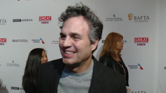 interview mark ruffalo on being at the event and on his thoughts about awards season at the bafta los angeles awards season tea party at four seasons... - mark ruffalo stock videos and b-roll footage