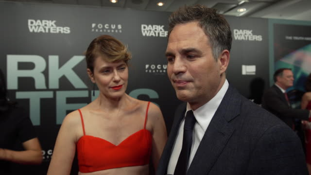 """mark ruffalo on how he found the story behind """"dark waters"""", working with todd haynes to develop the story, who rob bilott is and why he chose to... - インタビュー素材点の映像素材/bロール"""