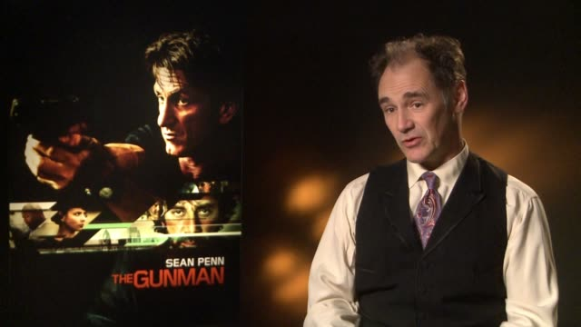 interview mark rylance on his experience of working with sean penn at 'the gunman' interviews at claridges hotel on february 17 2015 in london england - mark rylance stock-videos und b-roll-filmmaterial