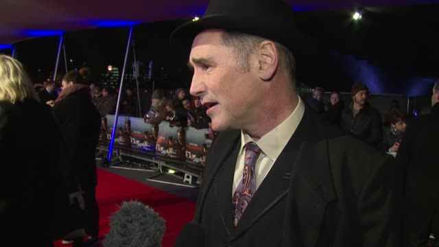 interview mark rylance on sean penn the oscars and bfg at the world premiere of the gunman on 16th february 2015 in london england - mark rylance stock-videos und b-roll-filmmaterial