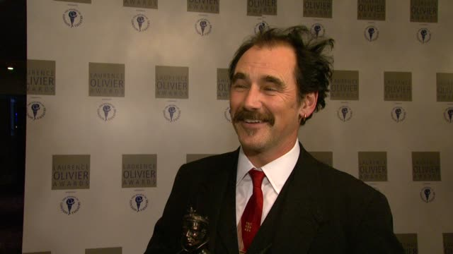 mark rylance on winning his award for jerusalem the theatre being a team effort on the script being so successful at the 2010 laurence olivier awards... - mark rylance stock-videos und b-roll-filmmaterial