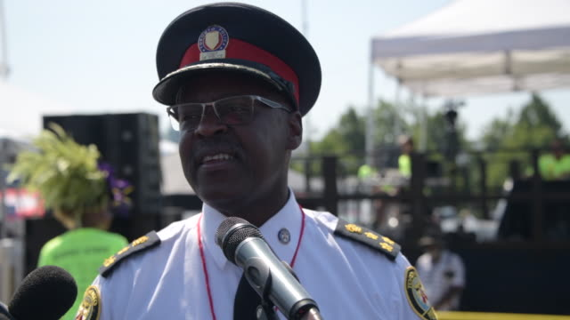 mark saunders chief of the toronto police speaks during the opening ceremony of the 52nd edition of the caribana caribbean carnival the event is one... - chief leader stock videos & royalty-free footage