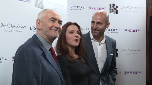 mark strong; barbara broccoli at south bank awards at the dorchester on march 12, 2013 in london, england - dorchester hotel stock videos & royalty-free footage