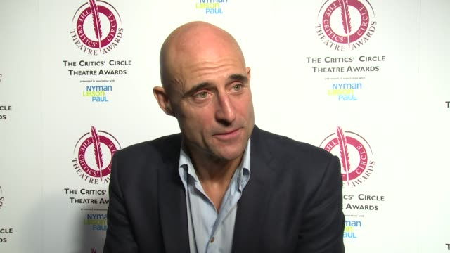 mark strong on baftas, boyhood and the imitation game at the critics' circle theatre awards on 27th january 2015 in london, england. - kritiker stock-videos und b-roll-filmmaterial