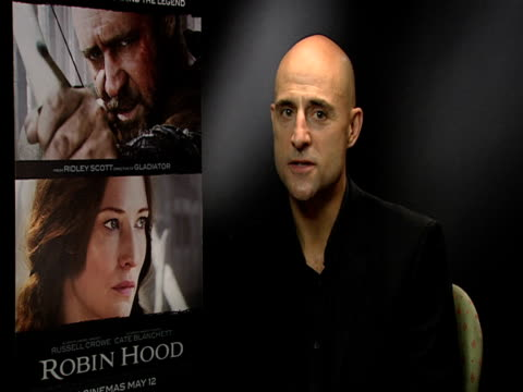 mark strong on how he has almost as much on screen time as russell crowe, albeit in different scenes until they meet in the finale. at the robin hood... - russell crowe stock videos & royalty-free footage