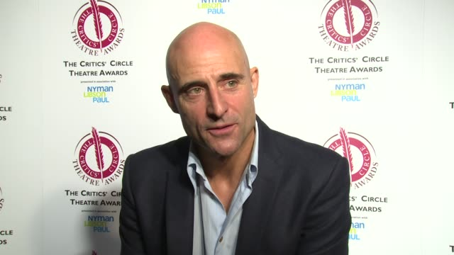 INTERVIEW Mark Strong on the award Benedict Cumberbatch and returning to theatre at The Critics' Circle Theatre Awards on 27th January 2015 in London...