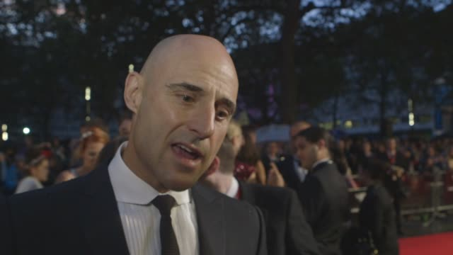 INTERVIEW Mark Strong on the film and history on Alan Turing being at Betchley Park at 'The Imitation Game' Gala Opening at Odeon Leicester Square on...