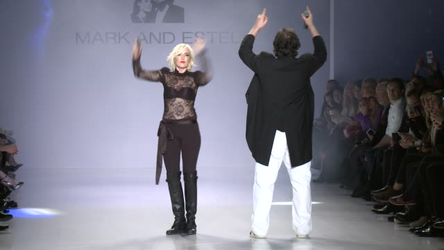 mark tango and estel day perform on the runway during mark & estel - fall 2015 mercedes-benz fashion week at the salon at lincoln center on february... - 既製服点の映像素材/bロール