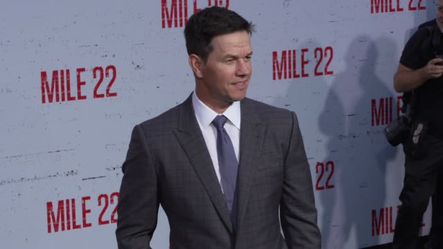"""mark wahlberg at the """"mile 22"""" premiere at regency village theatre on august 09, 2018 in westwood, california. - regency village theater stock videos & royalty-free footage"""