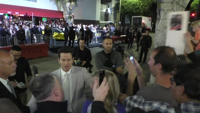 mark wahlberg greets fans outside the premiere of spenser confidential at westwood village theatre in westwood in celebrity sightings in los angeles - westwood neighborhood los angeles stock videos & royalty-free footage
