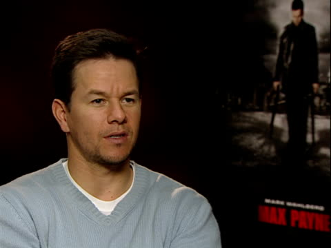 Mark Wahlberg interview promoting the Max Payne film ENGLAND London INT Mark Wahlberg interview SOT on why he took the role when previous video game...